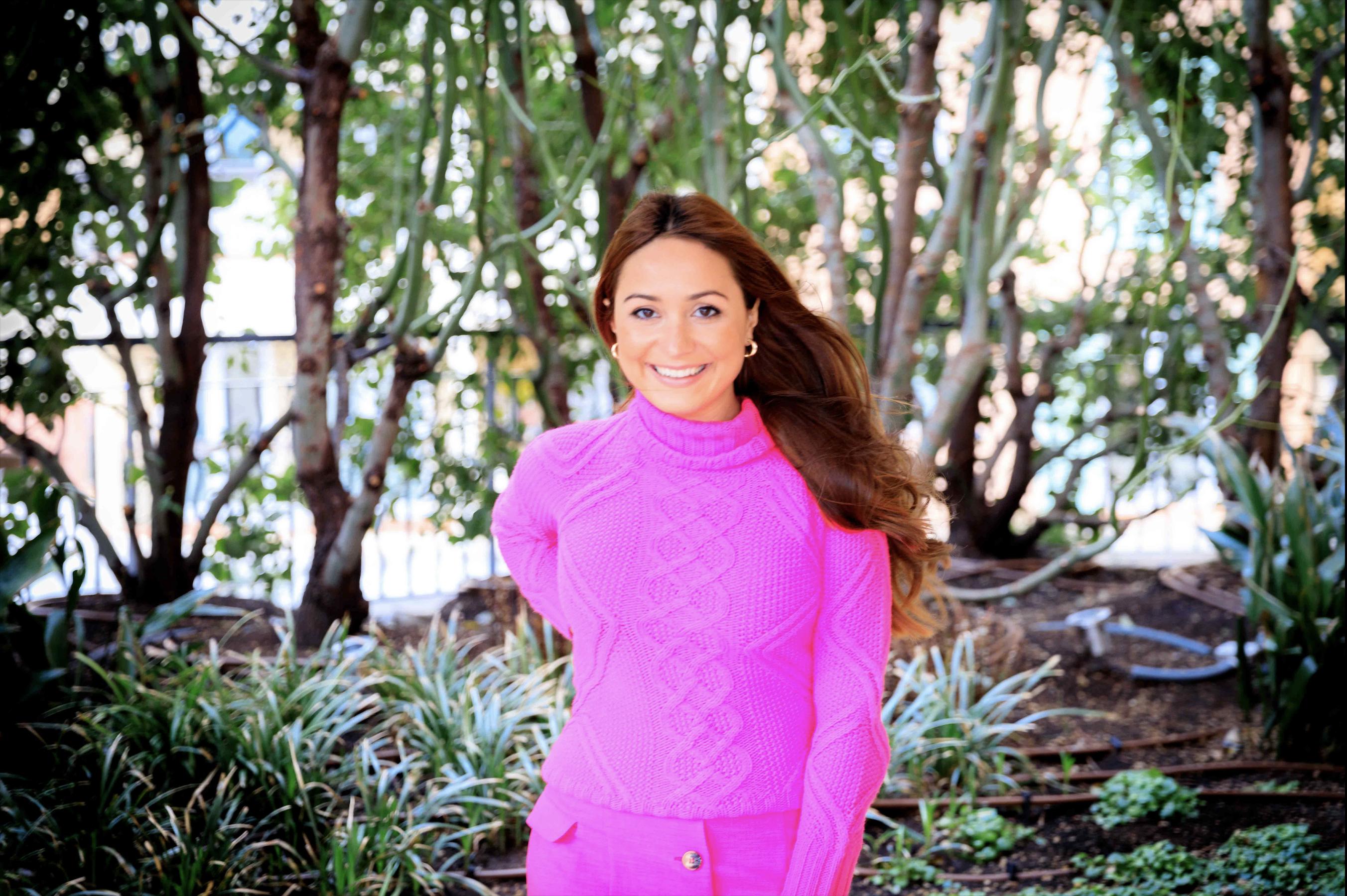 girl-pink-outfit-auburn-hair