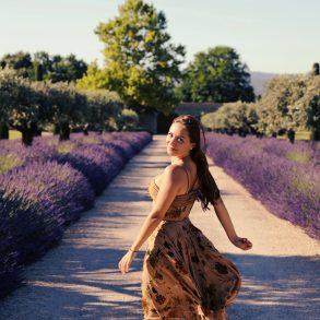 Hanushka toni provence lavender fields gordes christian dior embroidered dress